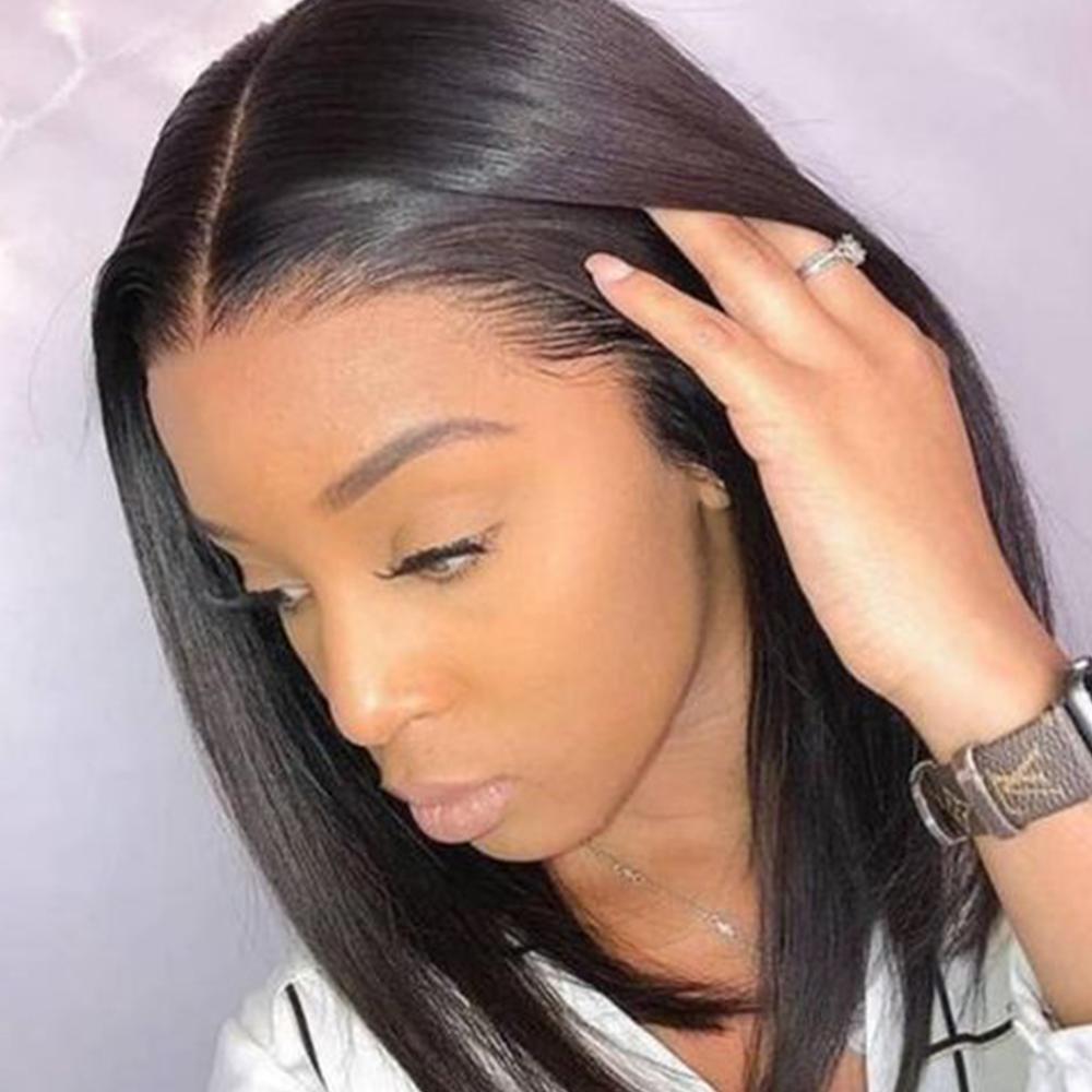 Megalook Kim K Wig Closure Wig Straight 2by6 Short Human Hair Wig Bob Lace Wigs Brazilian Hair Wigs Short Natural Color Virgin