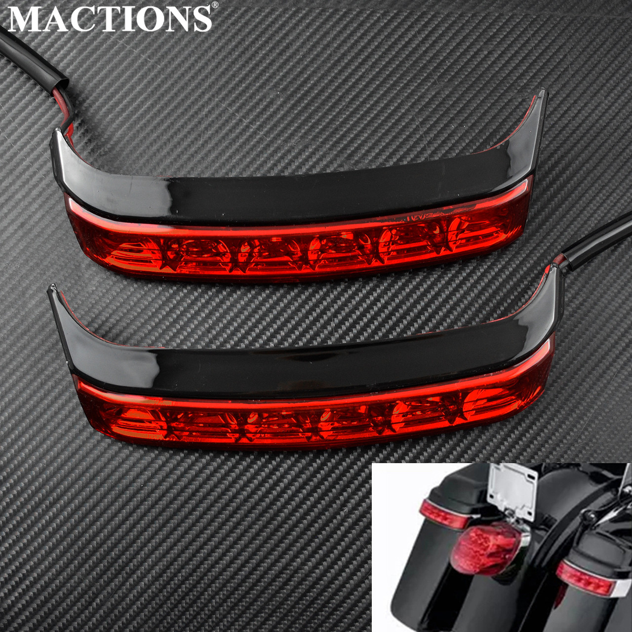 Motorcycle Saddlebag Red Lens Tail Turn Light Box Luggage Housing Run Lamp For Harley Touring Road King FLHR 2014-19
