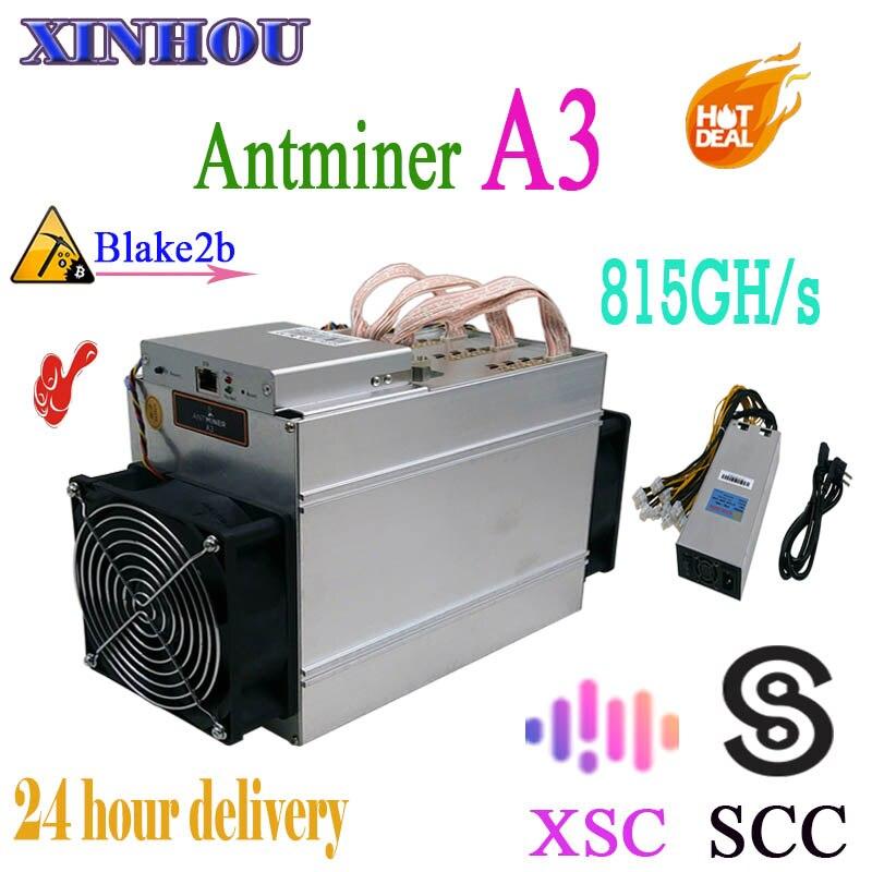 Vecchio 90% nuovo SCC XSC minatore Antminer A3 815GH/s ASIC Blake2b Minatore con 1800W PSU, più economico di S9 T17 M3 S11 S17 Z11 B7