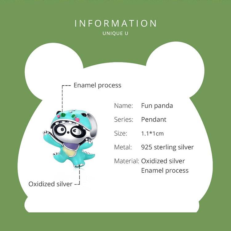 blue size 925 Sterling Silver Cute Enamel Cartoon Charm Purple Fun Owl Bead Panda Deer Bead Rainbow Bird Pendant for Bracelet DIY