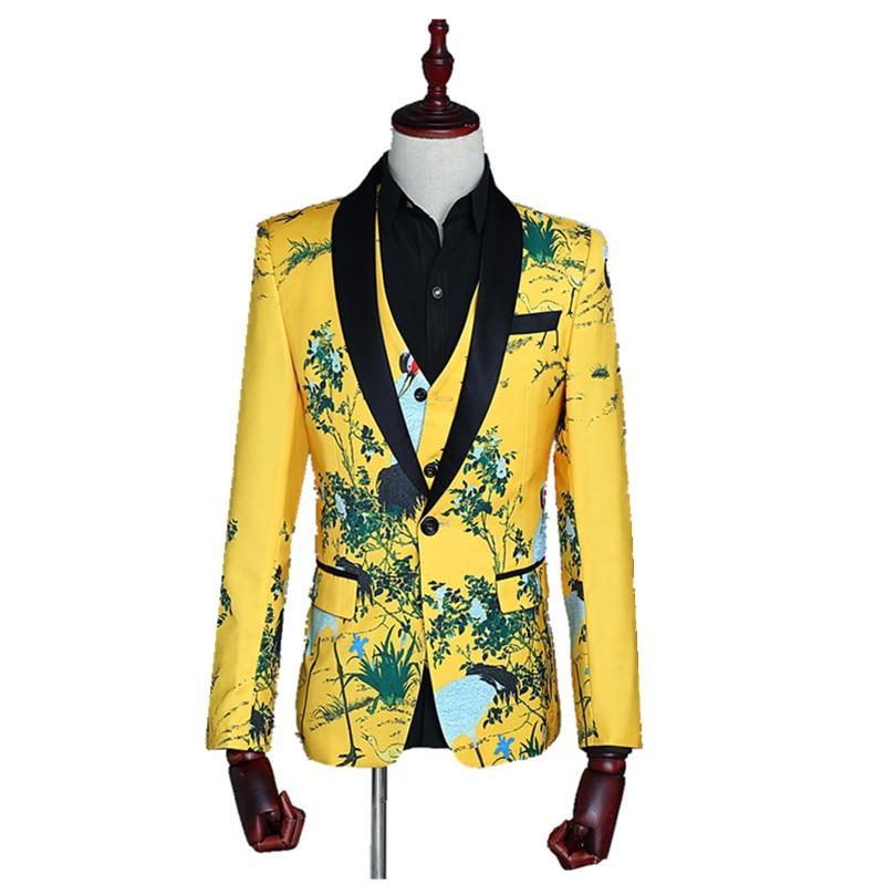 Yellow Print Men Suit Jacket With Vest 3 Pc Set Casual Slim Fit Lapel Festival Gala Prom Party Dress Blazer Men's Show Coat