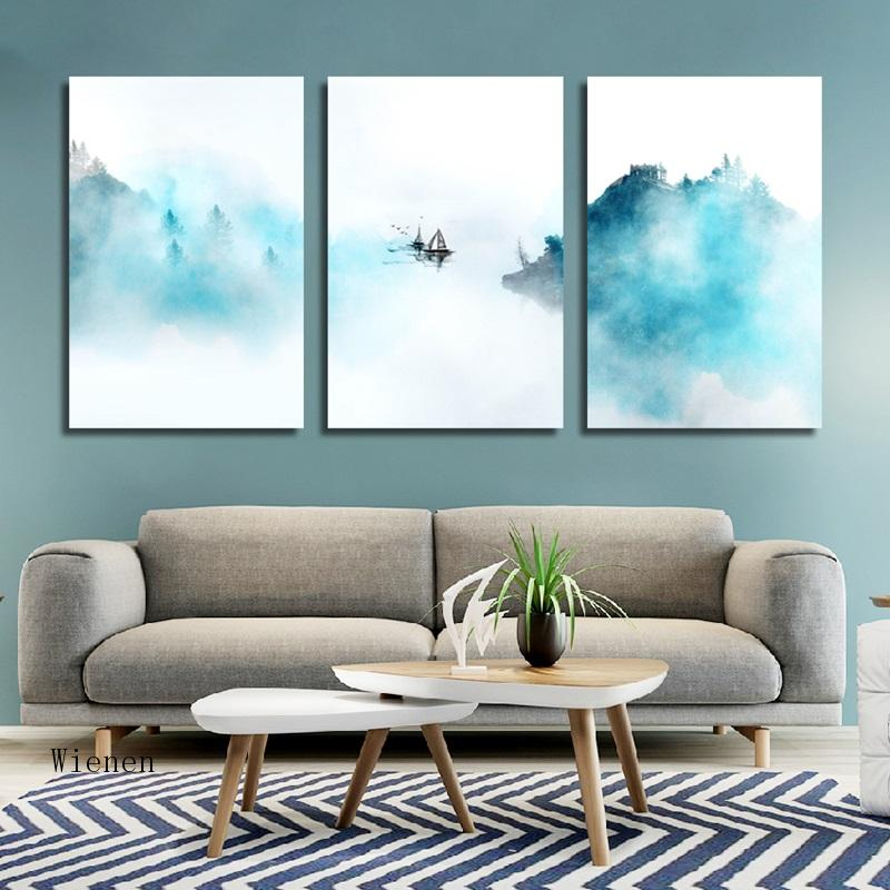 Modern Minimalist Blue Abstract Natural Landscape Canvas Painting Fog Forest Boat Print Frameless Poster Home Decor Wall Art  - buy with discount