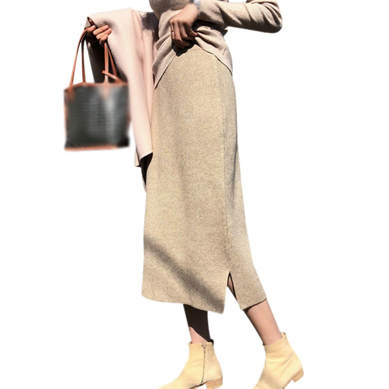 Women Autumn Winter Skirts Korean Style Elegant Solid Color Slim Mid-Length Knitted Skirt High Waist 2020 New Arrivals