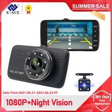 "E ACE Car Dvr Camera 4.0"" Full HD 1080P Dash Cam Auto Registrator Dual Lens Night Vision With Rear View Camera Video Recorder"