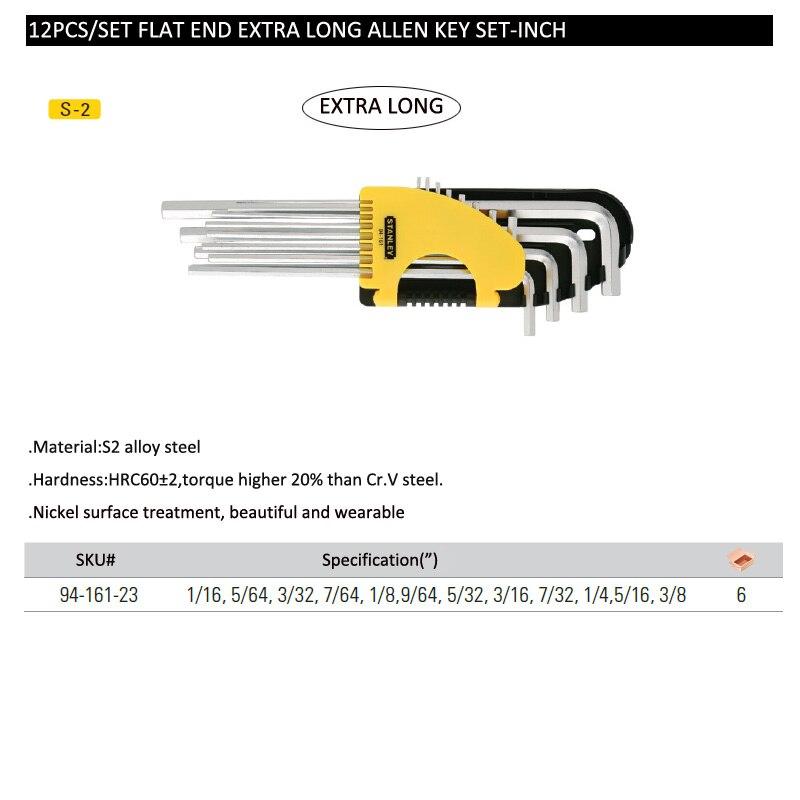 Flat end extra long allen key set-inch