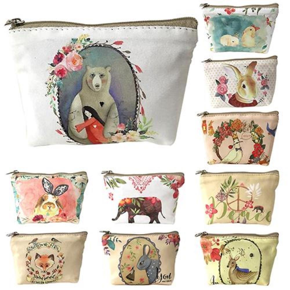 1PC Unisex Canvas Purse Cute Children Kids Animal Pattern Canvas Zipper Coin Purse Wallet Bag Gifts Pochette кошельки женские