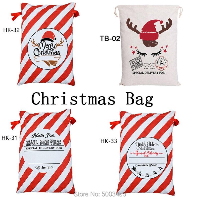 Santa Claus Bag 1pcs Christmas Gift Canvas Candy Cane Bag Large Drawstring Santa Sacks Kids Toys Christmas Stocking Bag Bulk