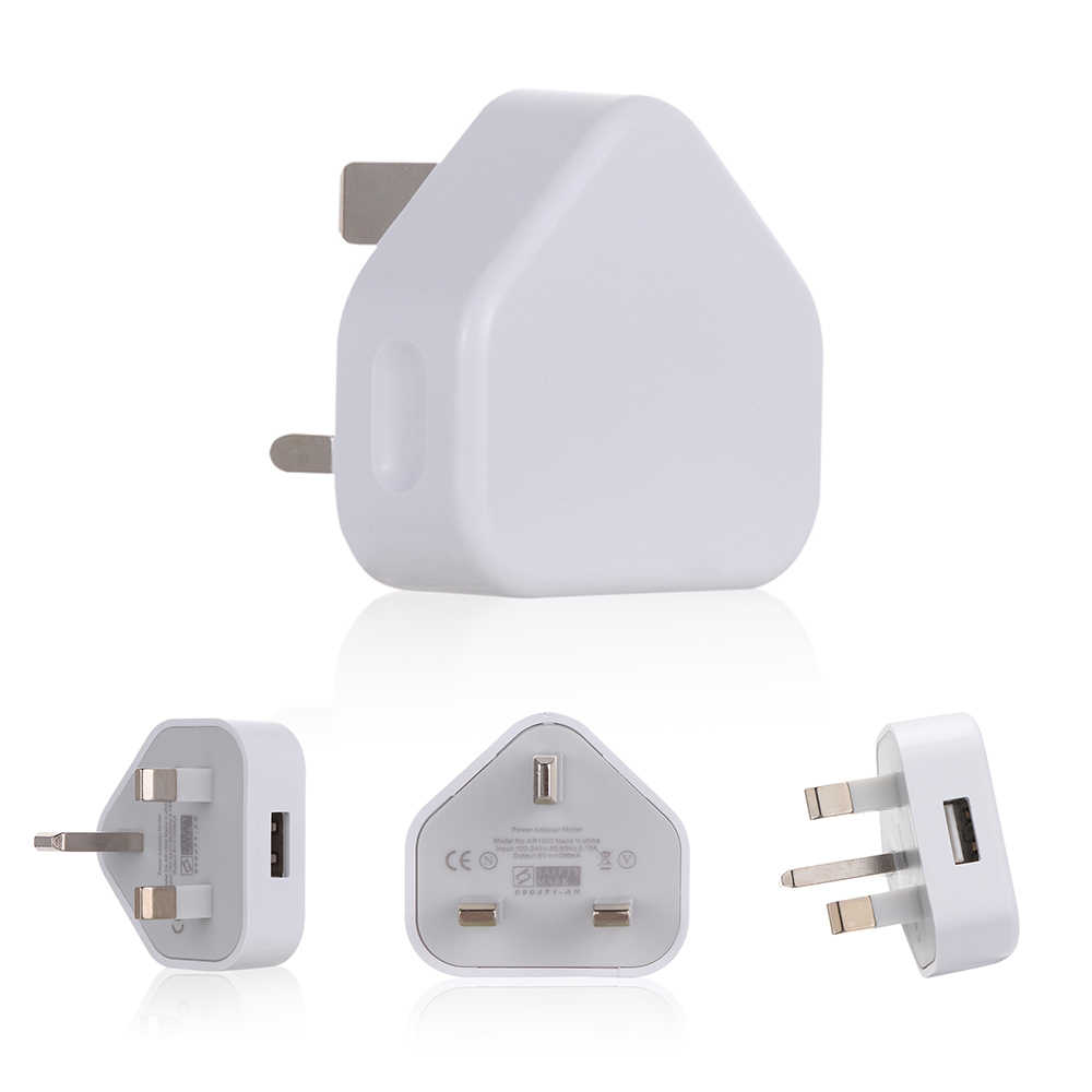 3 Pin 5V 1A Uk Plug Usb Wall Charger Power Adapter Thuis Opladen Voor Telefoons Tabletten Ipad Kantoor Reizen wit Ingang 100-240V