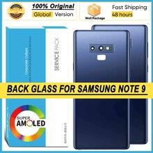 100% nowy dla Samsung Galaxy NOTE 9 N960 N960F SM N960FD bateria tylna pokrywa obudowa drzwi kamera szklana rama obiektywu naprawa części
