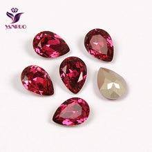 YANRUO 4320 Teardrop Fuchsia Diamond Ornaments Claw Crystals All for Needlework Sewn Rhinestones Glass Sewing Stones