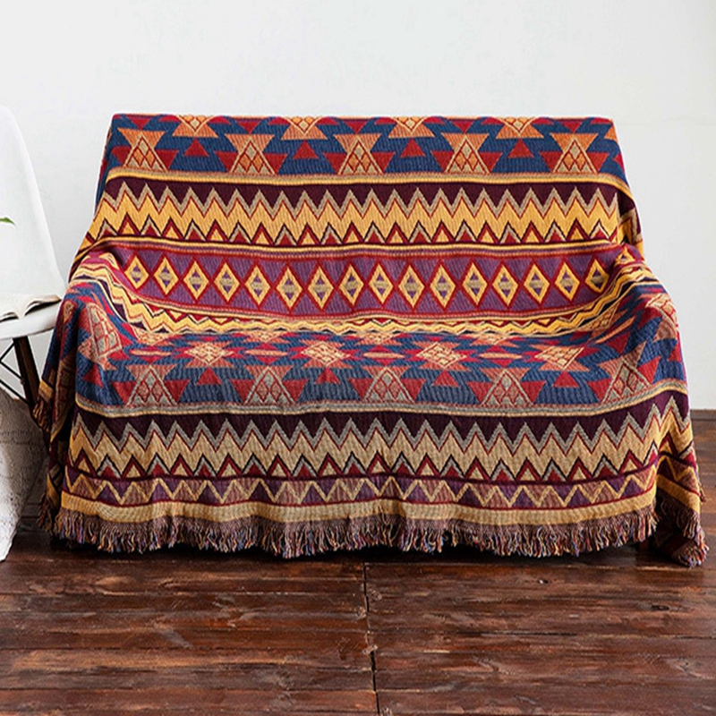 Bohemian Geometric Woven Sofa Covers Blanket Tassel Classic Moroccan Style Cotton Quilting Sofa Blanket Slipcovers Protect Cover