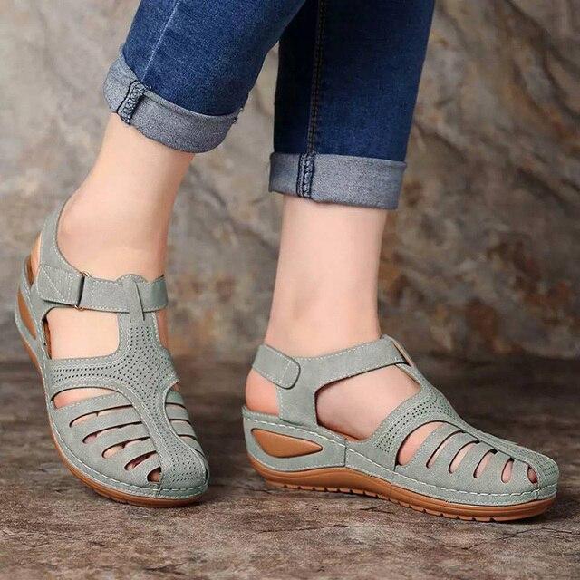 Sandalias Vintage de cuero de verano 2020 para mujer, zapatos de plataforma Retro para mujer, de costura informal, de velcro, para mujer, Tallas grandes 4