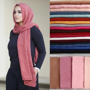 Image 1 - women plain cotton scarf Head hijab wrap solid full cover up shawls foulard femme headband crinkle muslim hijabs store