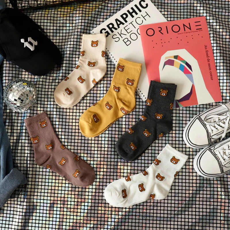2020 nuove Donne Del Fumetto di Cotone Traspirante Calzini E Calzettoni Simpatico Orso Animale Bello Modello della Ragazza Calzino Pettinato di Puro Cotone Femminile calzini e Calzettoni