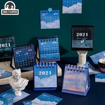 Mr.Paper 2021 mini Calendars Creative Desktop Ornaments Portable Work Note Calendar New Year Study Work Daily Schedulel 6 Styles 1