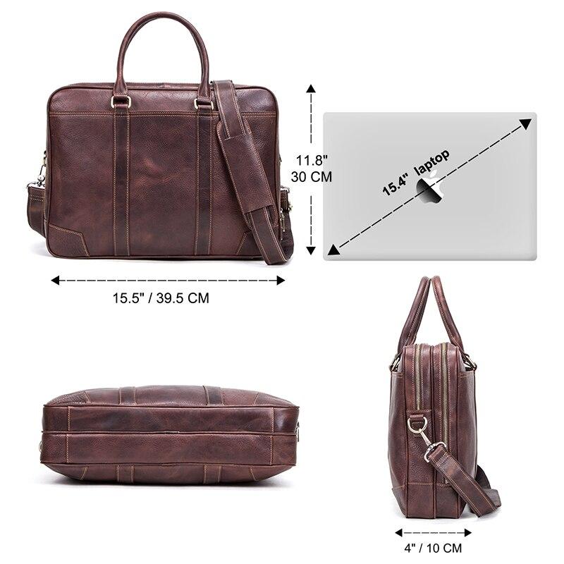 CONTACT'S Business Man Bag Vegetable Cow Leather Briefcase Bags For Men Laptop Shoulder Bag Quality Male Handbags Portafolio - 3