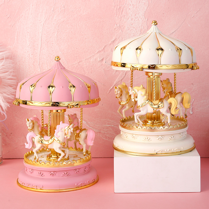 Colorful Music Boxes Merry-Go-Round Toy Carousel  Art Crafts Figurine Desktop Decoration Ornament Sculpture Gift For Children