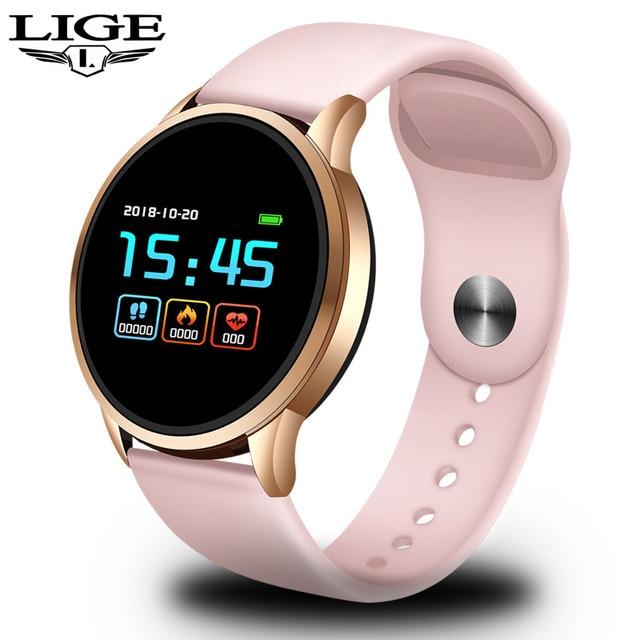 LIGE 2019Fitness Tracker Waterproof Smart Bracelet Screen heart rate Monitor Pedometer Smart Wristband Sport Smart Watches Women