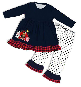Image 3 - The Farm Baby Black Cotton Jumpsuit With Embroidery wholesale Infant Rompers Knitted Ruffle Baby Clothing