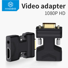 Hagibis-adaptador HDMI compatible con VGA, convertidor de vídeo hembra con puerto de Audio de 3,5mm para PS4, portátil, PC, TV Box, Monitor y proyector