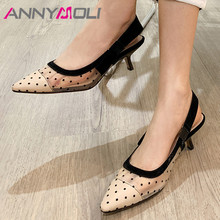 ANNYMOLI Woman Sandals Pointed Toe High Heels Cutouts Stiletto Heel Sandals Fashion Bow Female Shoes Summer Black Big Size 33-40 bow decorated stiletto pointed toe heels
