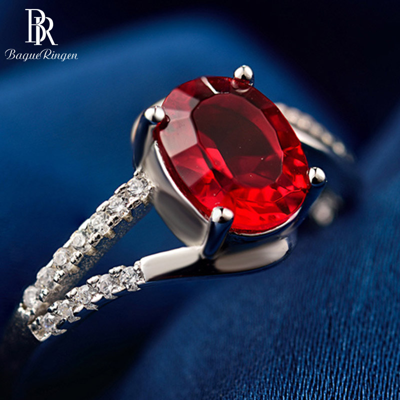 Bague Ringen Sterling Silver 925 Vintage  Gemstone Rings With 7*5mm Top Quality Created  Ruby Women Luxury  Fine Jewelry Gift