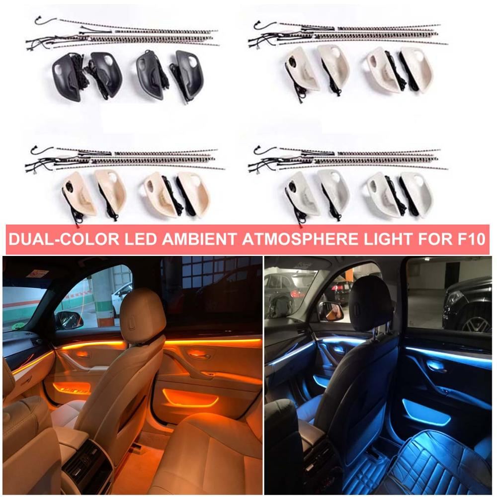 Car Interior Decorative LED Ambient 4 Doors Bowls Light Stripes Atmosphere Dual 2 Colors For BMW 5 Series F10 F11 F18 2010-2017