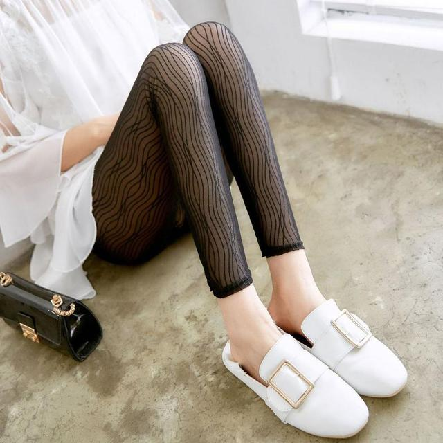 lady summer fashion lace Leggings black gray striped breathable stretched pants casual slim style thin leggings