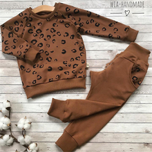 2020 Autumn Winter Toddler Kids Baby Girls Boy Clothes Tracksuit Sets Long Sleeve Leopard Tops Long Pants Outfits