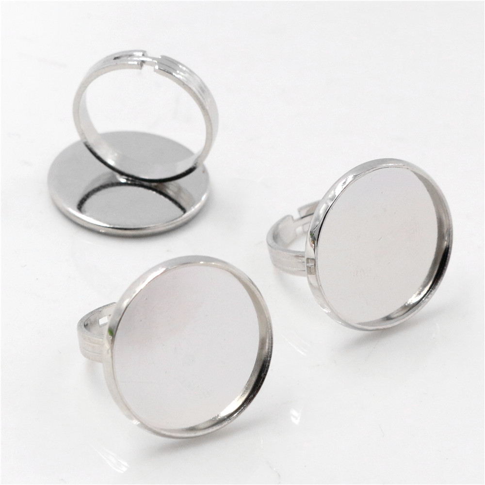 20mm 5pcs Rhodium Plated Brass Adjustable Ring Settings Blank/Base,Fit 20mm Glass Cabochons,Buttons;Ring Bezels -K5-21