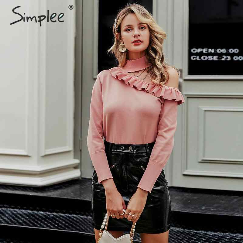 Simplee Sexy halter knitted sweater women jumper winter Hollow out ruffled lady sweater Long sleeve female jumper pull femme