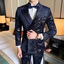 Джентльменский Рождественский костюм с принтом, бархатный вечерний парадный вечерний костюм для мужчин, деловой стиль, для свадьбы, для курения, для мужчин, стильный пиджак для выпускного, для клуба