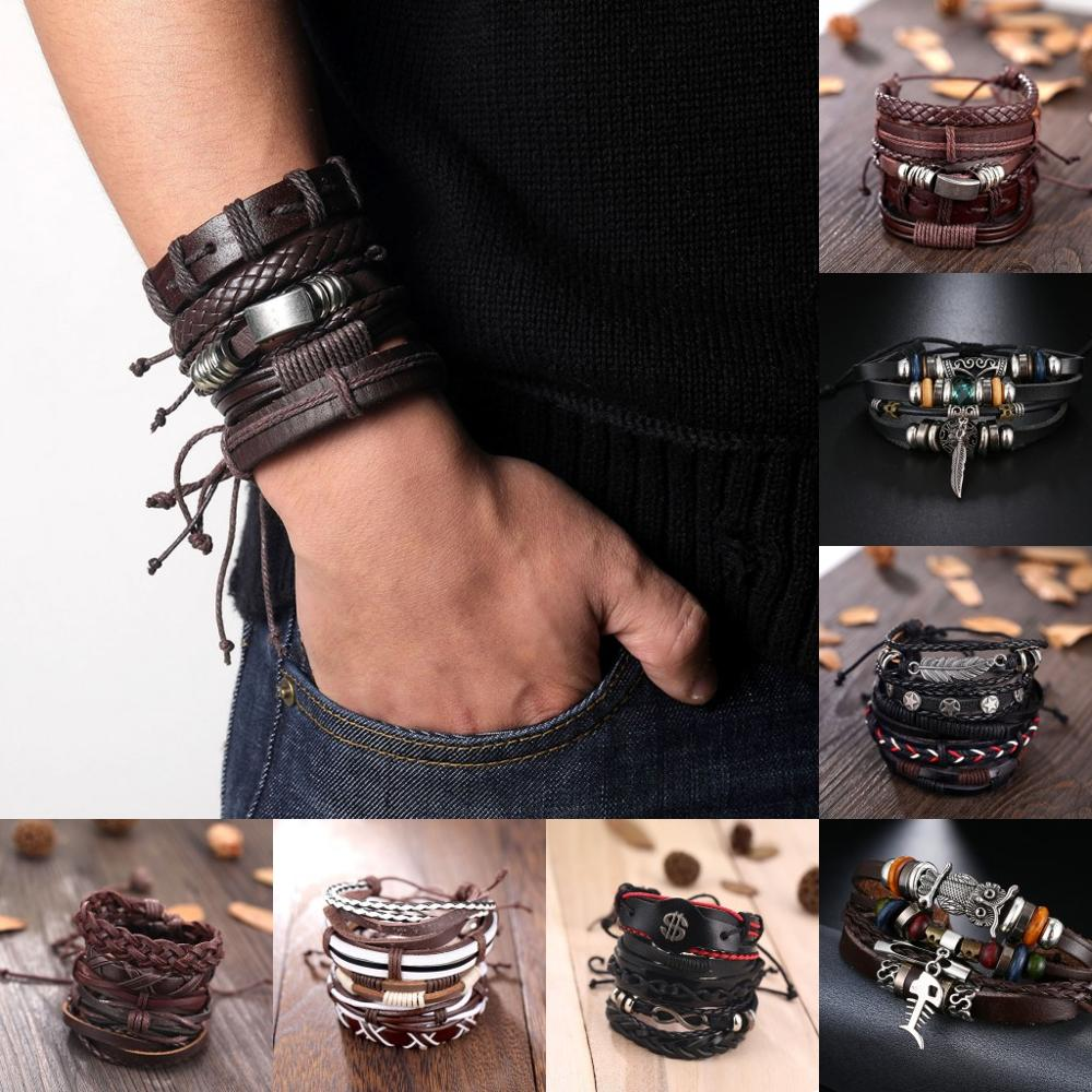 SOUQ Vintage Leaf Feather Multilayer Leather Bracelet Men Fashion Braided Handmade Star Rope Wrap Bracelets & Bangles Male Gift image