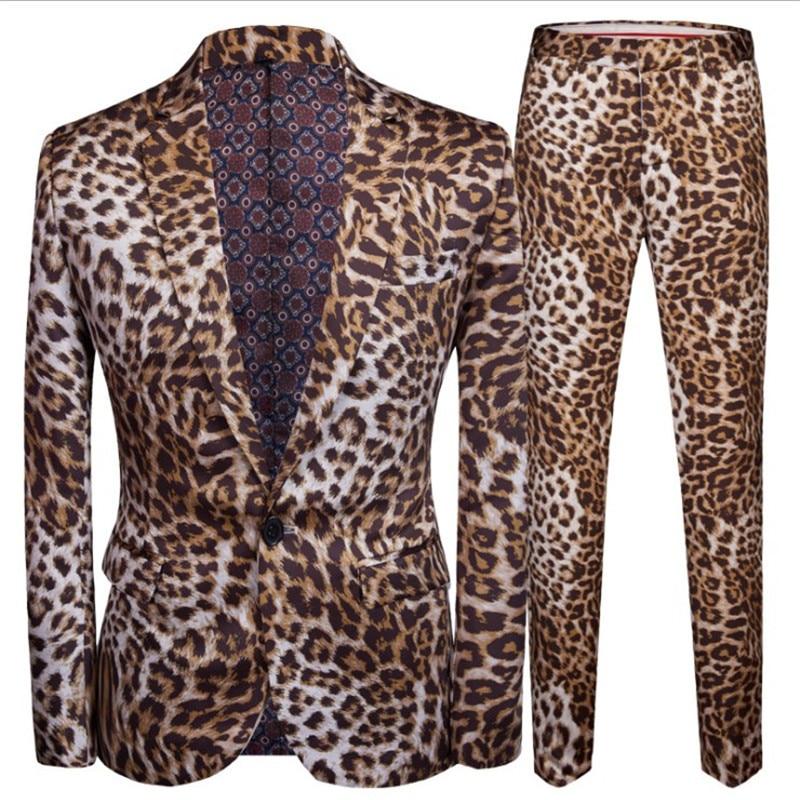 Hot Sale Leopard Print Men Suit Blazer Set With Pants 2020 Popular Casual Stage Performance DJ Jacket Luxury Singer Star Coat