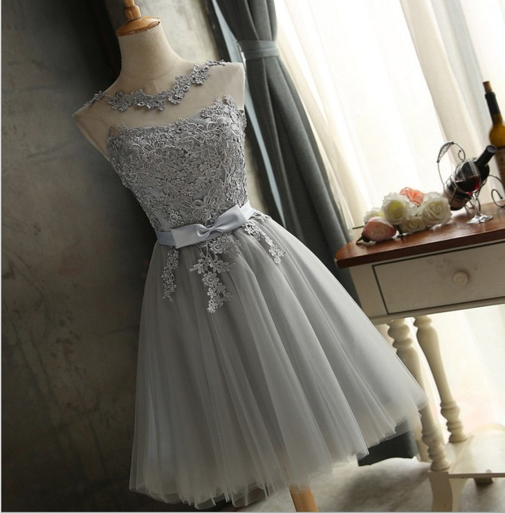 embroidery grey lace up bridesmaid dresses new autumn winter 2019 short prom dress girl plus size brudepige kjole