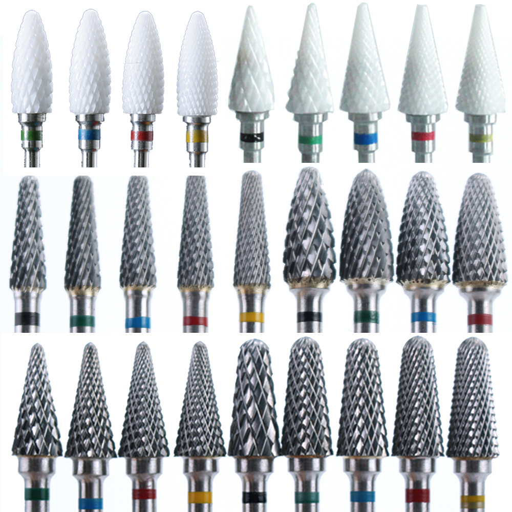 Ceramic Milling Cutter Manicure Nail Drill Bits Electric Nail Files Pink Blue Grinding Bits Mills Cutter Burr Accessories