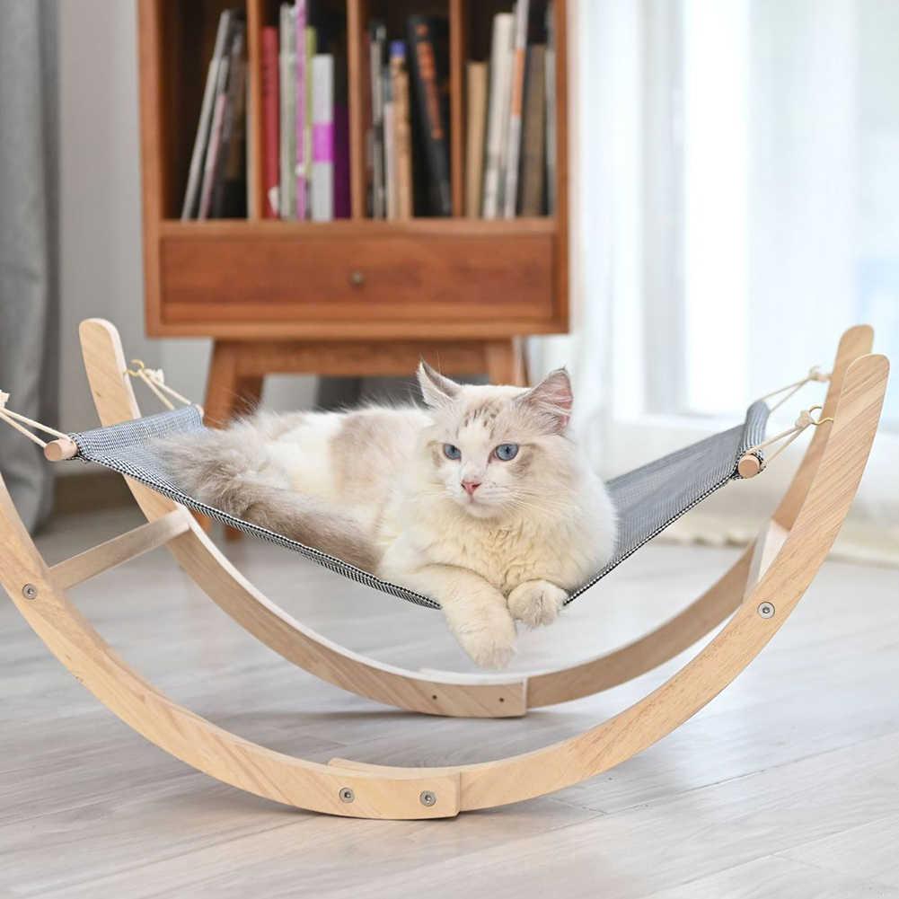 ペット犬猫木製ハンモックスイングソフトで快適な睡眠マットクッション耐久性のあるロッキングベッドペット用品