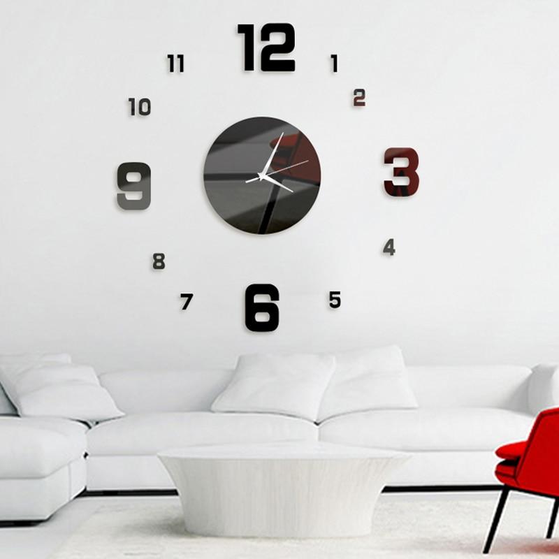 Wall Clock Round Figure Sticker Acrylic Watch Non-Ticking Wall Clocks Kitchen Home Living Room DIY Decor Reloj De Pared Klok
