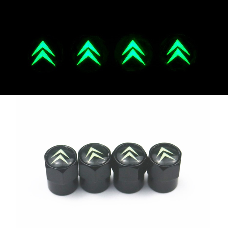 4pcs Luminous Car Tire Valve Cover Wheel Air Protection Cap For Citroen C4 C5 C3 C2 C1 C4L Picasso Saxo Car Styling Accessories