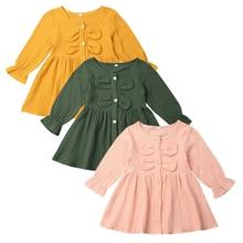 Платье для маленьких девочек однотонное платье из хлопка и льна одежда принцессы с длинными рукавами на пуговицах и оборками 3 цвета