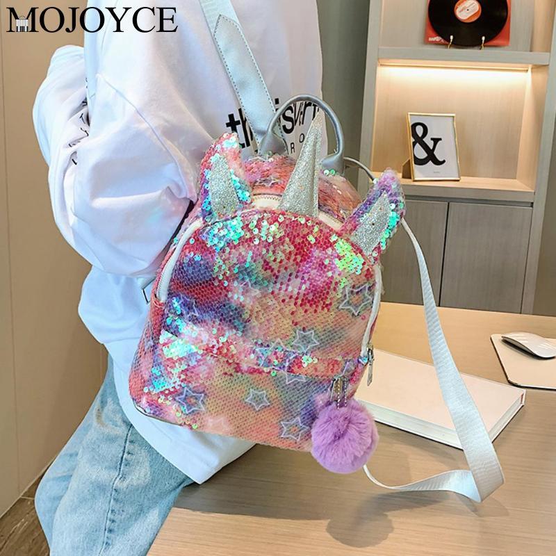 Fashion Sequins Women Backpack Baby Girls Student Schoolbags Pompom Knapsack Cute Mini Shiny Casual Travel Rucksack Mochila