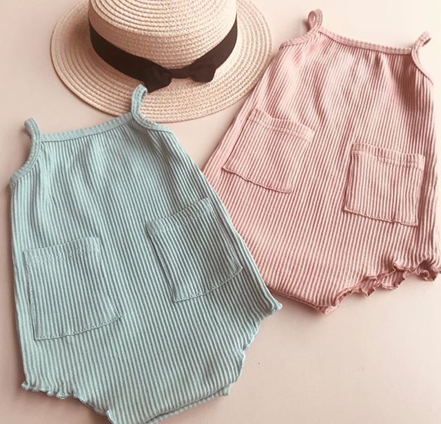Newborn Baby Clothes Summer Baby Girl Boy Bodysuit Sleeveless Strap Cotton Playsuit Soft Sling Solid Ribbed Bodysuit 0-18M