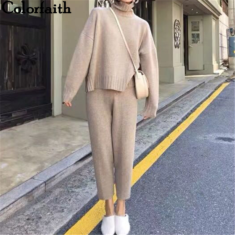Colorfaith 2019 New Autumn Winter Woman Sets Two Piece Set Pullovers Pants Lounge Wear Knitting Split Minimalist Style WS8222