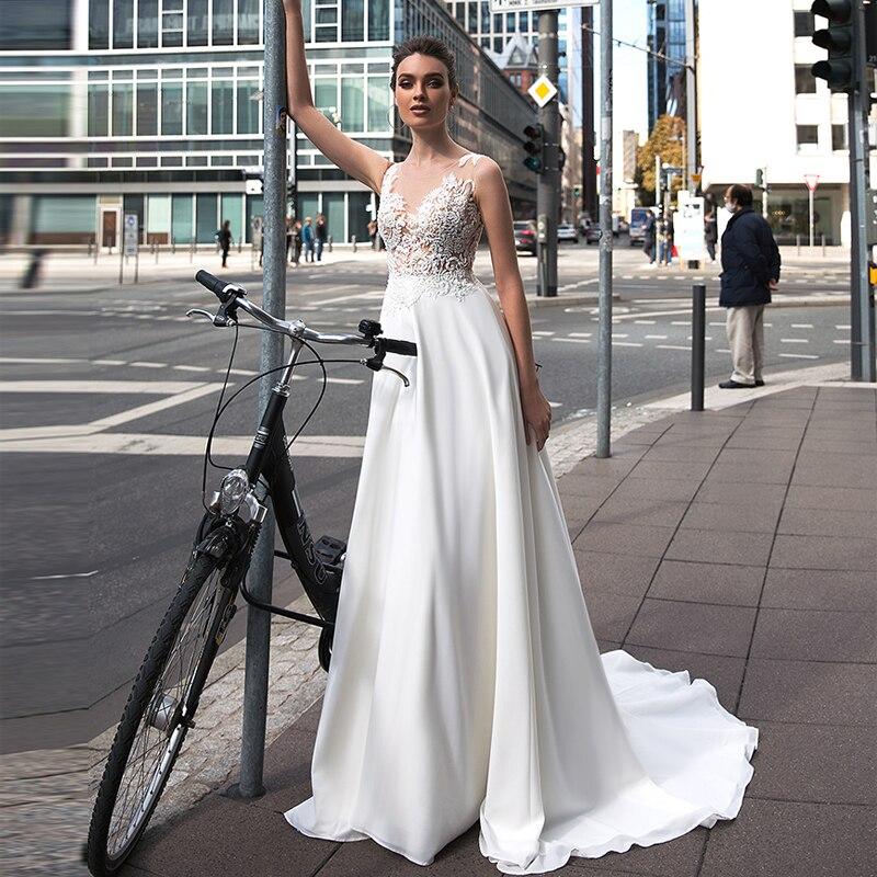 Verngo Quality Gowns Wedding Dress Boho 2020 Lace Appliques Chiffon / Satin A-line Bride Dresses Suknie Slubne