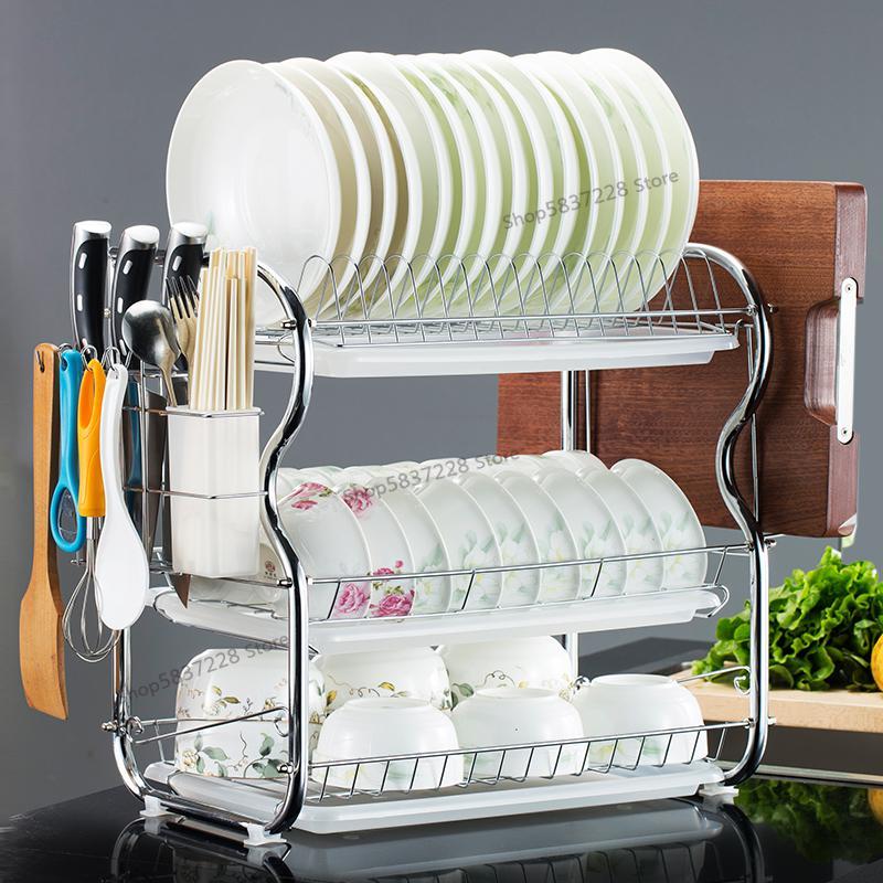 Кухонные стеллажи, трехуровневый стеллаж для посуды, шкаф для хранения, принадлежности, подвесная стойка для посуды