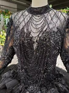 Image 5 - Tier שכבה חצאיות ארוך רכבת ירוק כדור שמלת חתונת שמלות 2019 ראפלס כלה חתונה שמלת טול Tessal חתונה שמלות