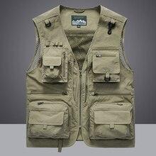 Summer Men Unloading Tactical Vest Coat Casual Men's Photographer Waistcoat Mesh Work Sleeveless Jacket Tools Pocket Vest 5XL