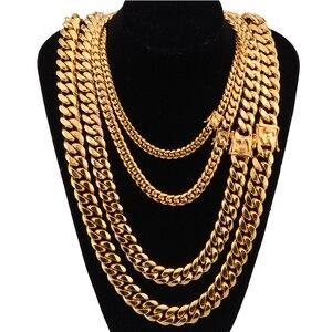 Image 2 - 쿠바 링크 체인 남성 목걸이 프라이드 12mm 14mm 16mm 18mm 스테인레스 스틸 빅 롱 골드 목걸이 chunky necklace male accesories