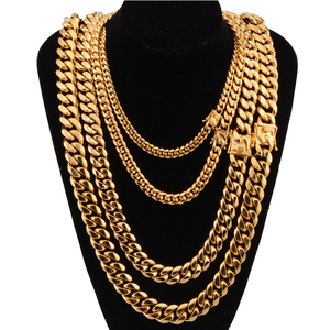Image 2 - Cuban link chain male necklaces pride 12mm 14mm 16mm 18mm stainless steel big long gold necklace chunky necklace male accesories