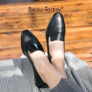 Image 1 - BeauToday Cho Nữ Nữ Da Bê Thương Hiệu Vuông Mũi Giày Slip On Nữ Đế Bằng Chất Lượng Hàng Đầu Giày Làm Bằng Tay 27089